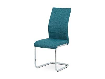 Jídelní židle, modrá látka, kov chrom