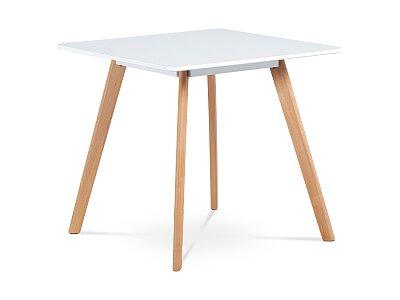 Jídelní stůl 80x80 cm, MDF, bílý matný lak, masiv buk, přírodní odstín