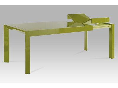 Jídelní stůl rozkl., 160+50x90 cm, vysoký lesk zelený