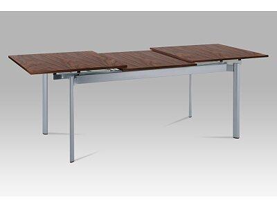 Jídelní stůl rozkl. 160+72x85x76 cm, alu / dýha ořech