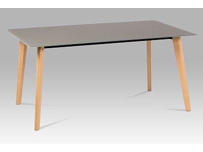 Jídelní stůl - dubové nohy a  cappuccino sklo