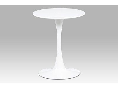 Jídelní stůl kulatý - kov bílý vysoký lesk