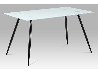 Jídelní stůl - mléčné sklo + nohy černý lak