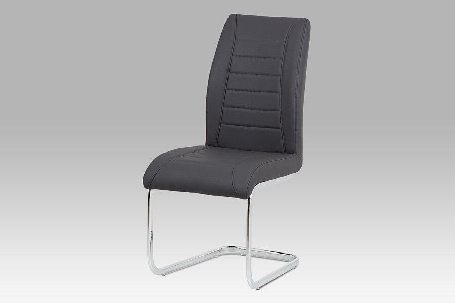 Jídelní židle - šedá ekokůže, kovová chromovaná podnož