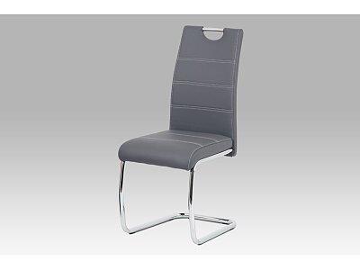 Jídelní židle, šedá ekokůže, bílé prošití, kov chrom