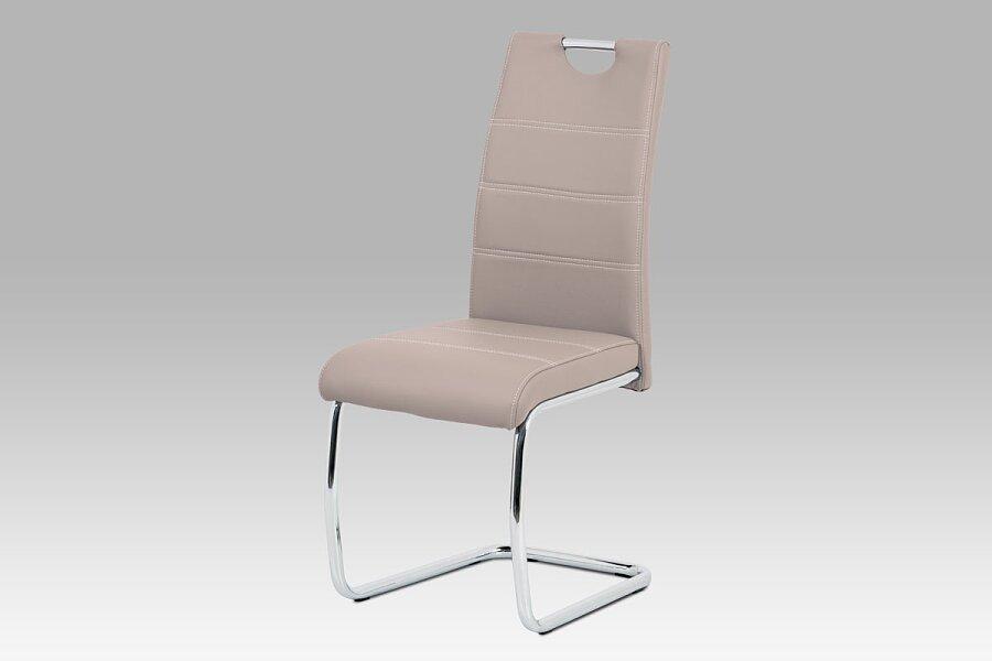 Jídelní židle, béžová ekokůže, bílé prošití, kov chrom