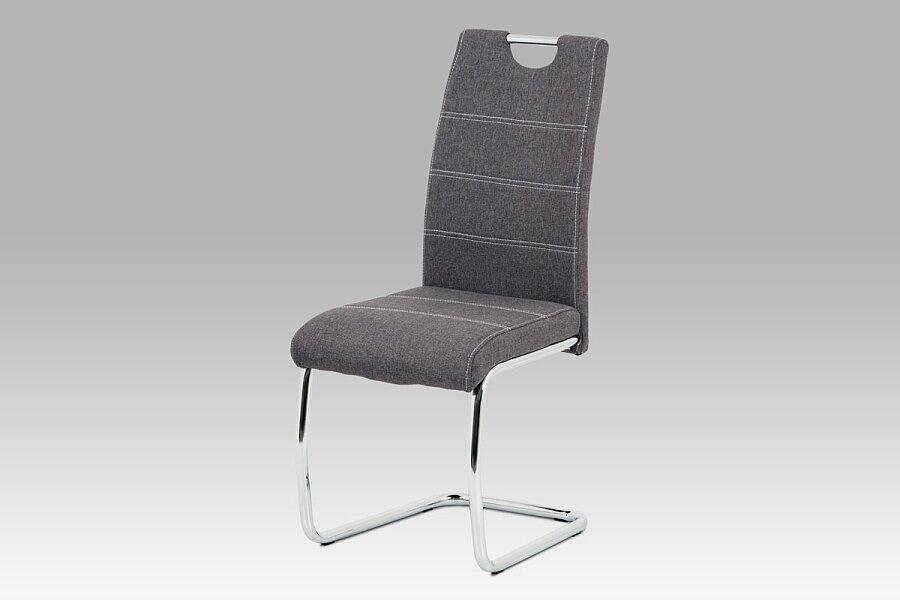 Jídelní židle, šedá látka, bílé prošití, kov chrom