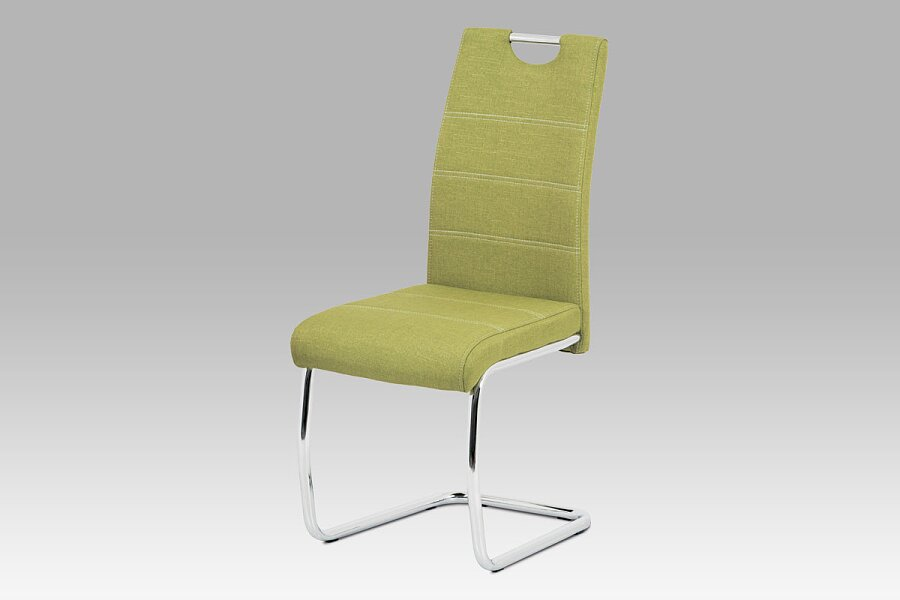 Jídelní židle, zelená látka, bílé prošití, kov chrom