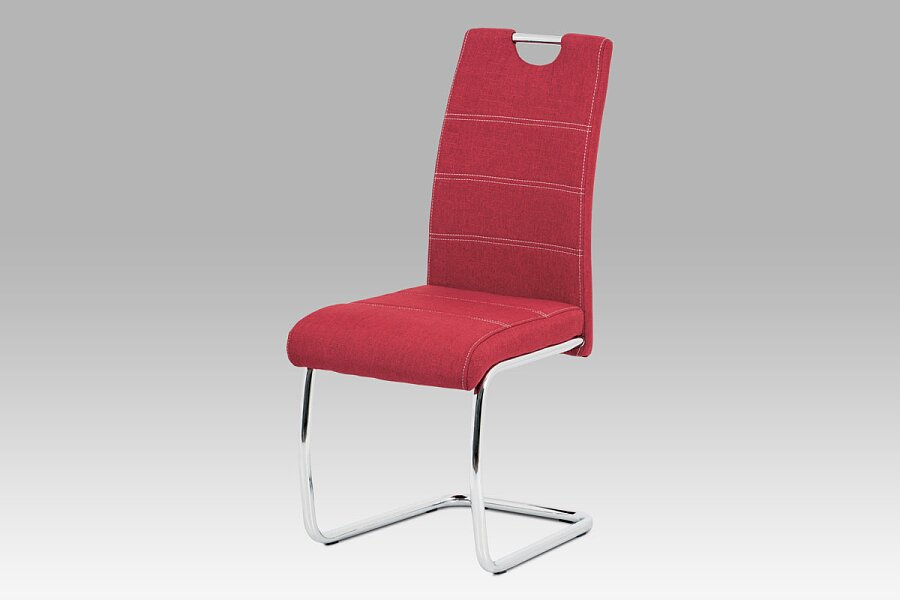Jídelní židle, červená látka, bílé prošití, kov chrom