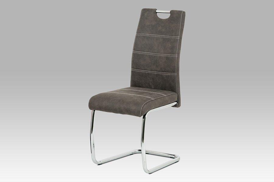 Jídelní židle - antracitová látka Cowboy v dekoru broušené kůže, kovová chromovaná podnož