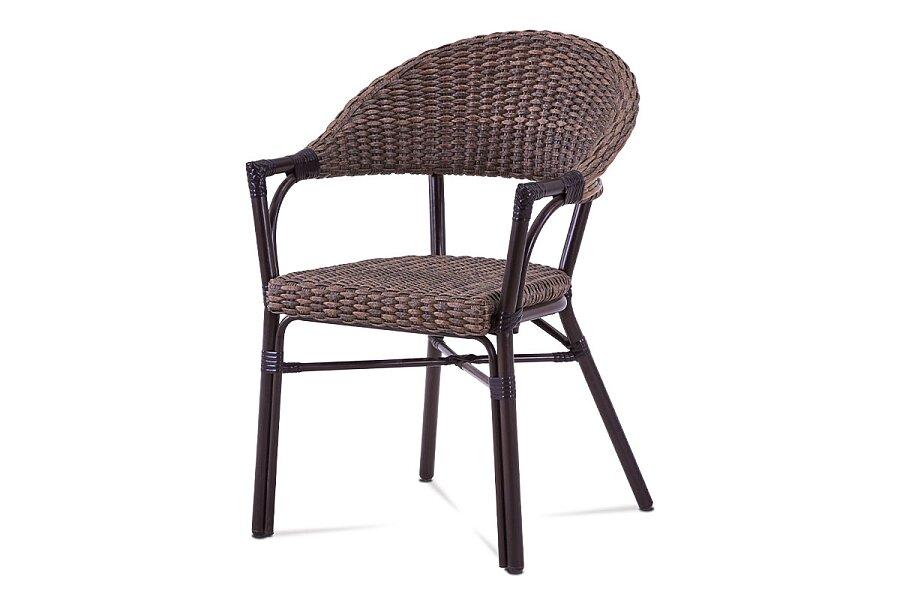 Zahradní židle, hnědý umělý ratan, kov, hnědočerný lak