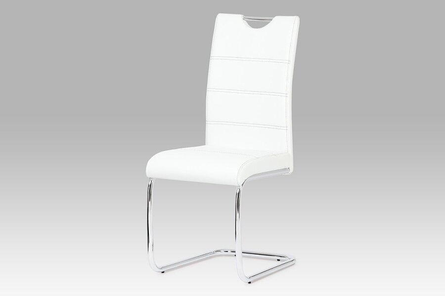 Jídelní židle, chrom / koženka bílá
