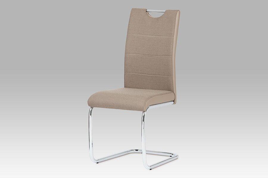 Jídelní židle, látka cappuccino / boky koženka lanýž / chrom