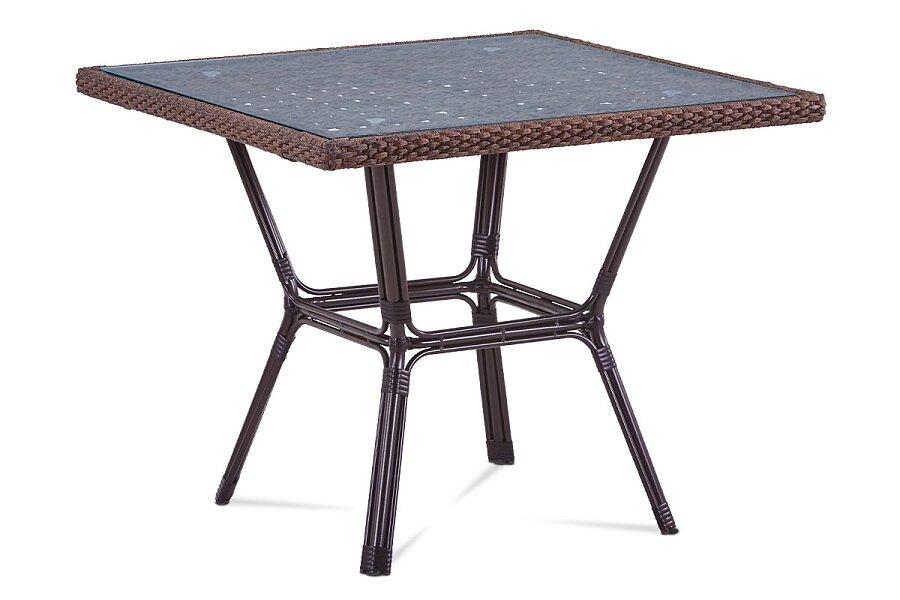 Zahradní stůl, sklo, hnědý umělý ratan, kov, hnědočerný lak