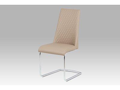Jídelní židle - koženka cappuccino / chrom