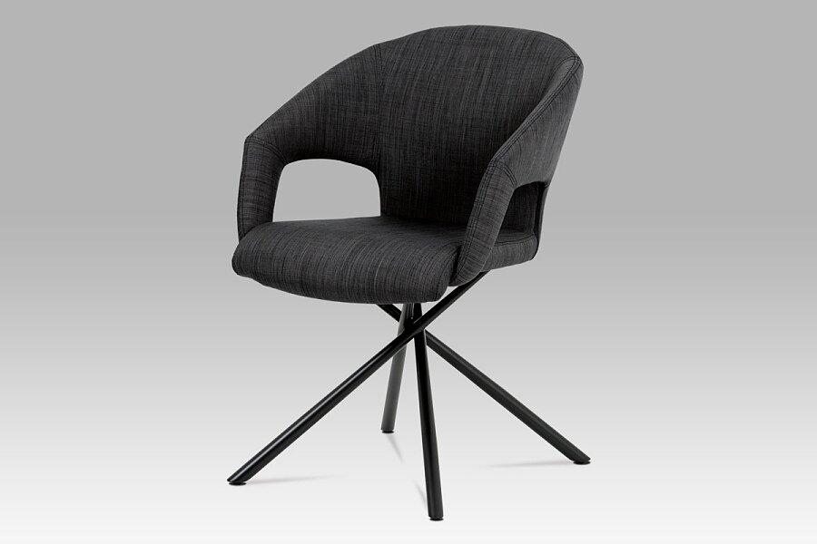 Konferenční a jídelní židle, černá látka, kov matná černá