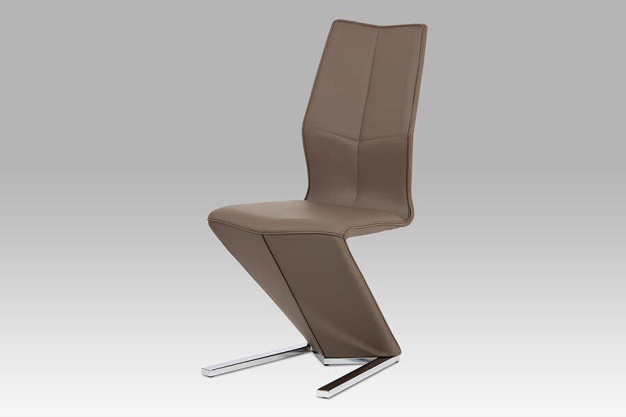Jídelní židle, cappuccino ekokůže, chrom