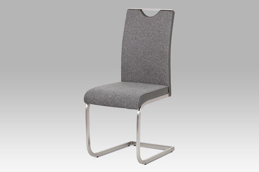Jídelní židle látka šedá + koženka šedá / broušený nerez