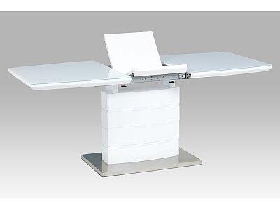 Rozkládací jídelní stůl 140+40x80x76 cm, bílý lesk, bílé sklo / broušený nerez
