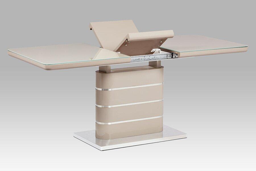 Jídelní stůl 140+40x80 cm, vysoký lesk cappuccino, sklo cappuccino, broušený nerez