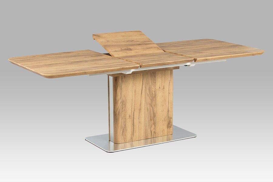 Rozkládací jídelní stůl 160+50x90 cm, 3D dekor dub / broušený nerez