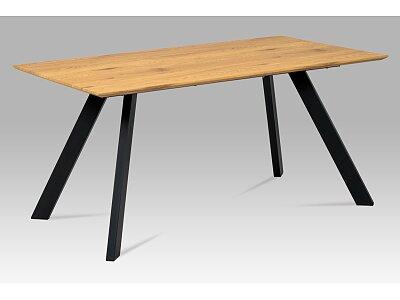 Jídelní stůl, mdf dekor dub, kov černý mat - HT-712 OAK