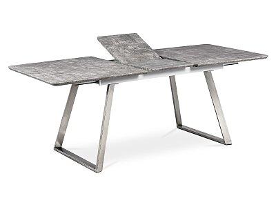 Jídelní stůl 160x90cm s rozkladem 40cm, MDF v dekoru beton, broušený nerez