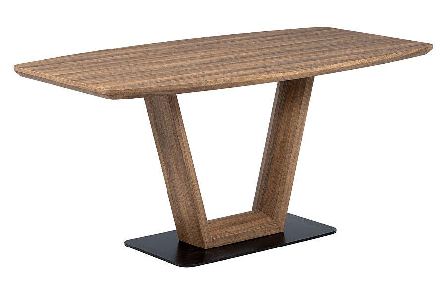 Jídelní stůl 160x85 cm, MDF tmavý dub, kov matná černá