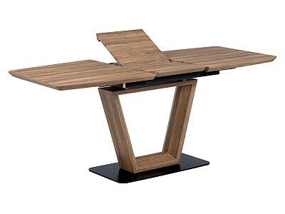 Jídelní stůl 140+40x80 cm, MDF tmavý dub, kov matná černá