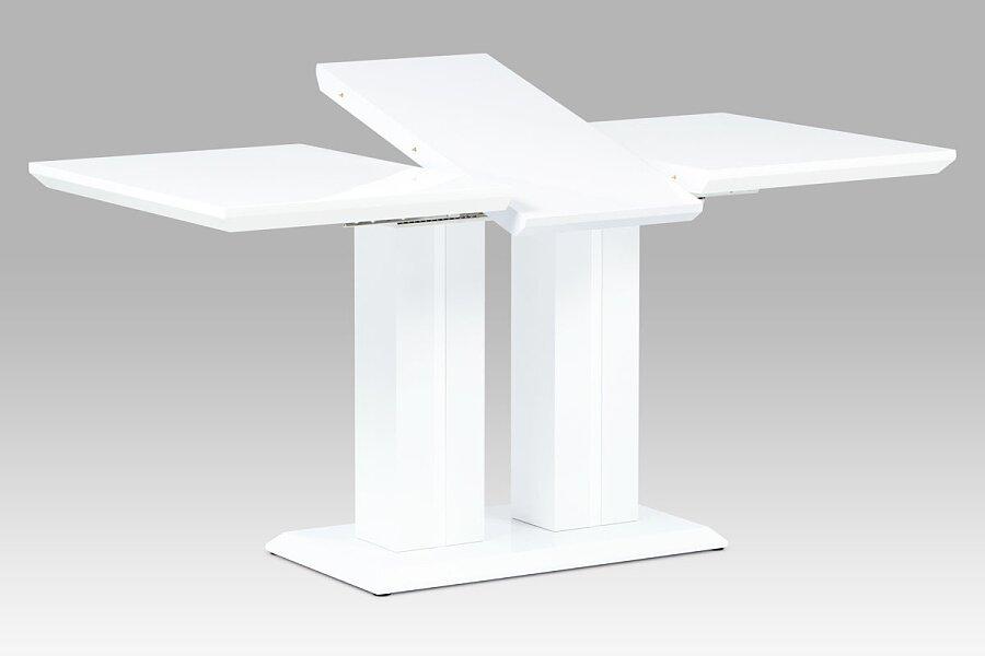 Jídelní stůl 120+40x80x75 cm, vysoký lesk bílý