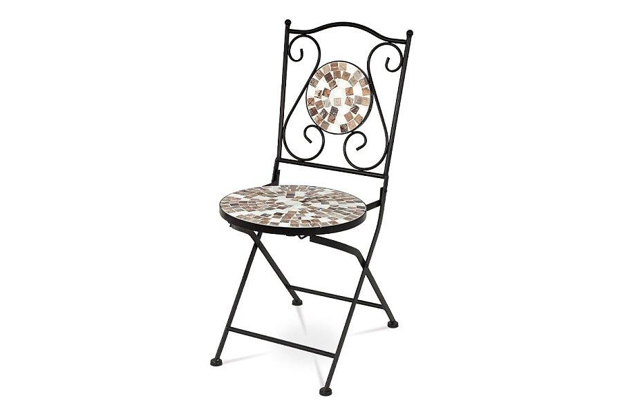 Zahradní židle, keramická mozaika, kov, černý lak (designově ke stolu JF2206)