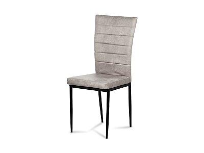 Jídelní židle - černá látka imitace broušené kůže, kov černý mat