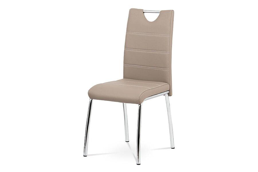 Jídelní židle - cappuccino ekokůže s bílým prošitím, kovová čtyřnohá podnož