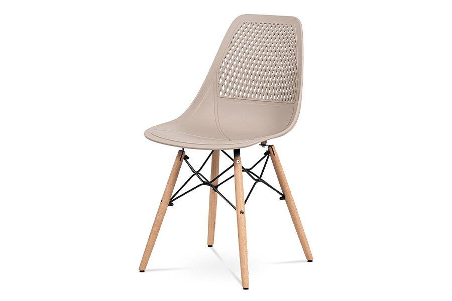 Jídelní židle - cappuccino plast, masiv buk, přírodní odstín, kov černý matný lak
