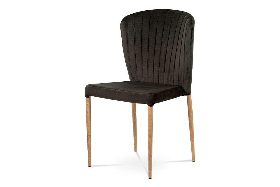 Jídelní židle, šedá sametová látka, kovová podnož, 3D dekor dub