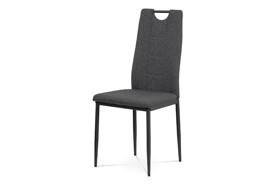 Jídelní židle, šedá látka, kov černý mat