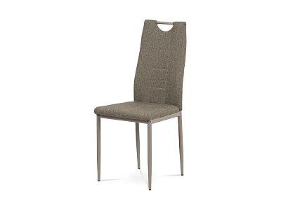 Jídelní židle - cappuccino látka, kov lesk