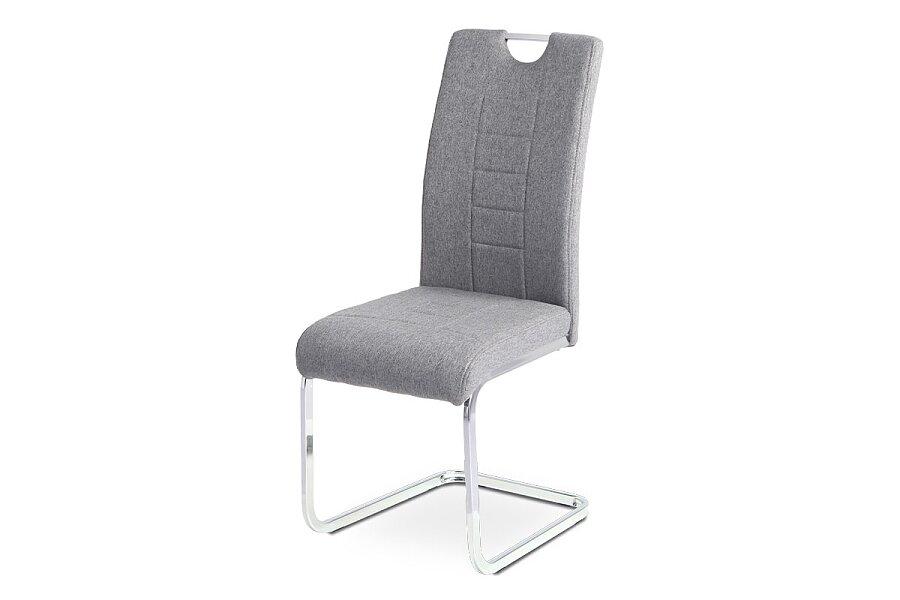 Jídelní židle, šedá látka, kovová pohupová chromovaná podnož