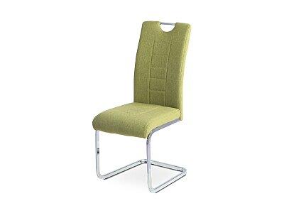 Jídelní židle - zelená látka, kov/chrom podnož
