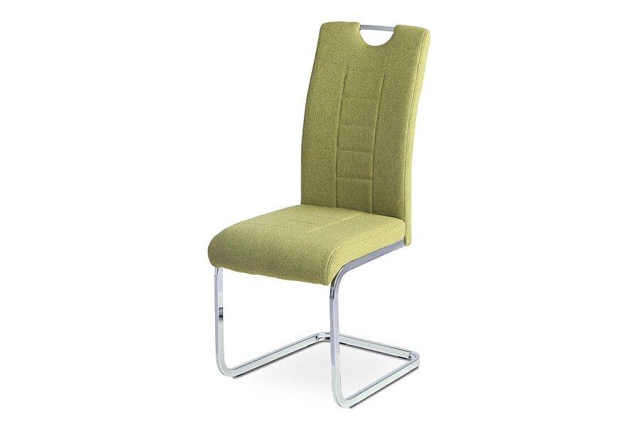 Jídelní židle, zelená látka, kovová pohupová chromovaná podnož