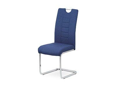 Jídelní židle - modrá látka, kov/chrom podnož