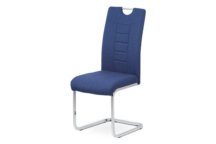 Jídelní židle, modrá látka, kovová pohupová chromovaná podnož