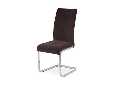 Jídelní židle - hnědá sametová látka, kovová/chrom podnož