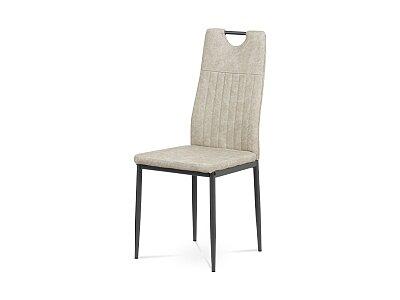 Jídelní židle - šedá ekokůže, kov matný antracit