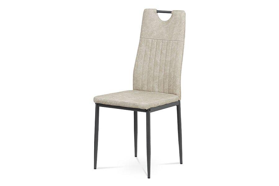 Jídelní židle, šedá ekokůže, kov matný antracit