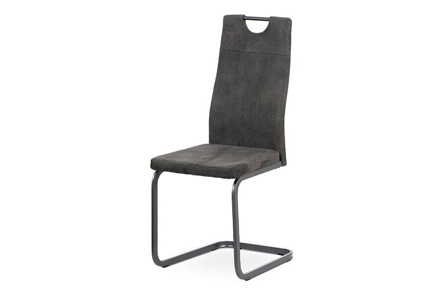 Jídelní židle, šedá látka, šedý kov mat