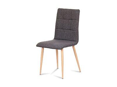 Jídelní židle - šedostříbrná látka, kov dekor buk