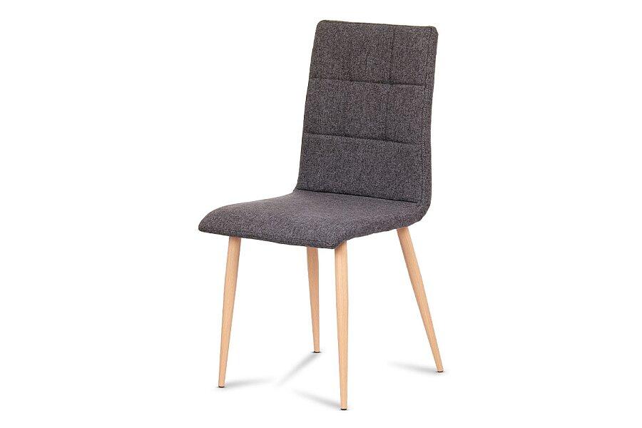 Jídelní židle, šedostříbrná látka, kov dekor buk