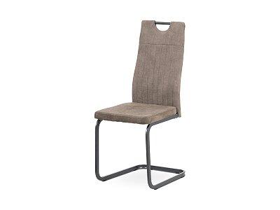 Jídelní židle - lanýžová látka, šedý kov mat