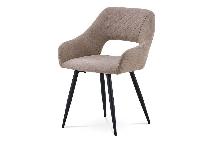 Jídelní židle - latté látka, kovová čtyřnohá podnož, černý matný lak